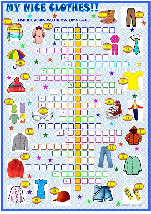 Clothes And Accessories   Crossword Puzzle Worksheet