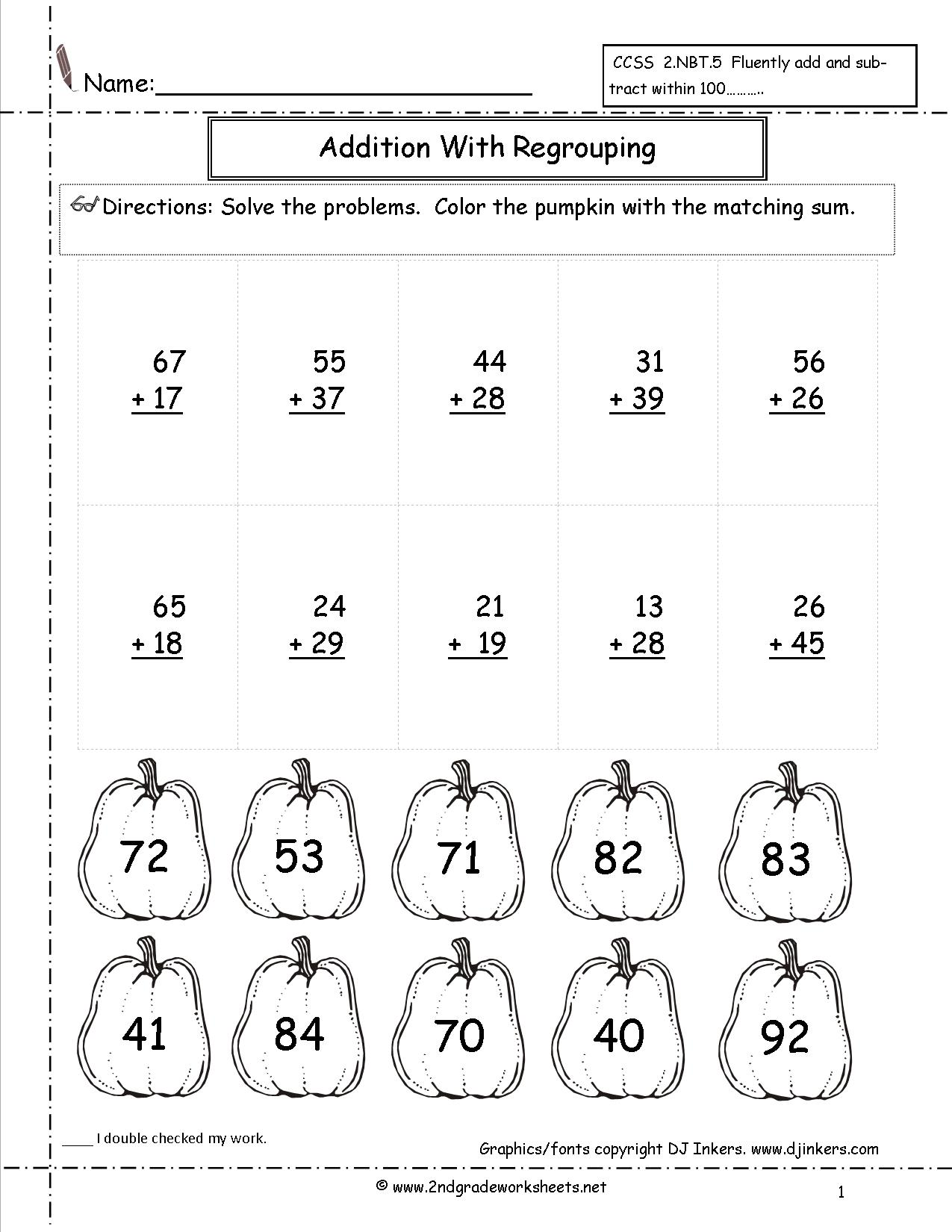 Collection Of 2nd Grade Math Worksheets Halloween