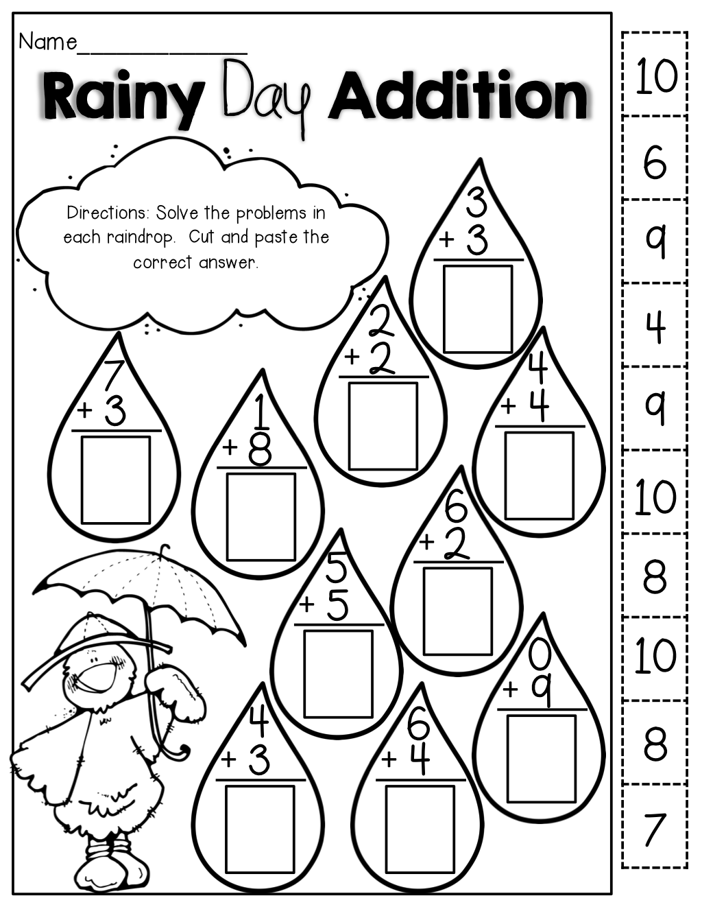 Collection Of Free Cut And Paste Math Worksheets For 2nd Grade