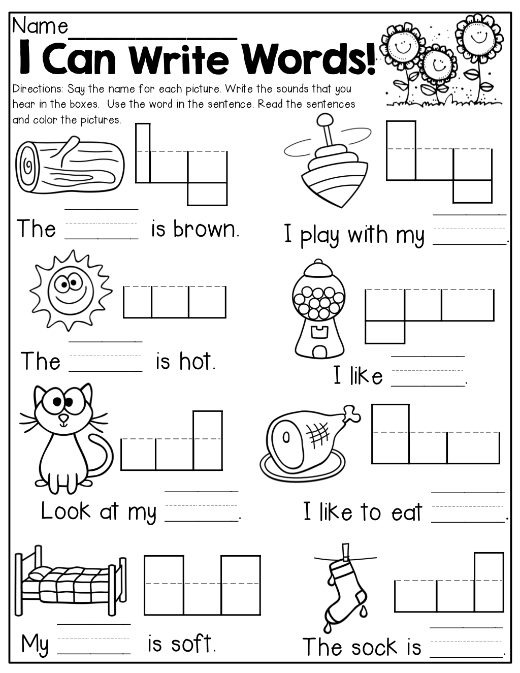 Collection Of Free Kindergarten Writing Sentences Worksheets