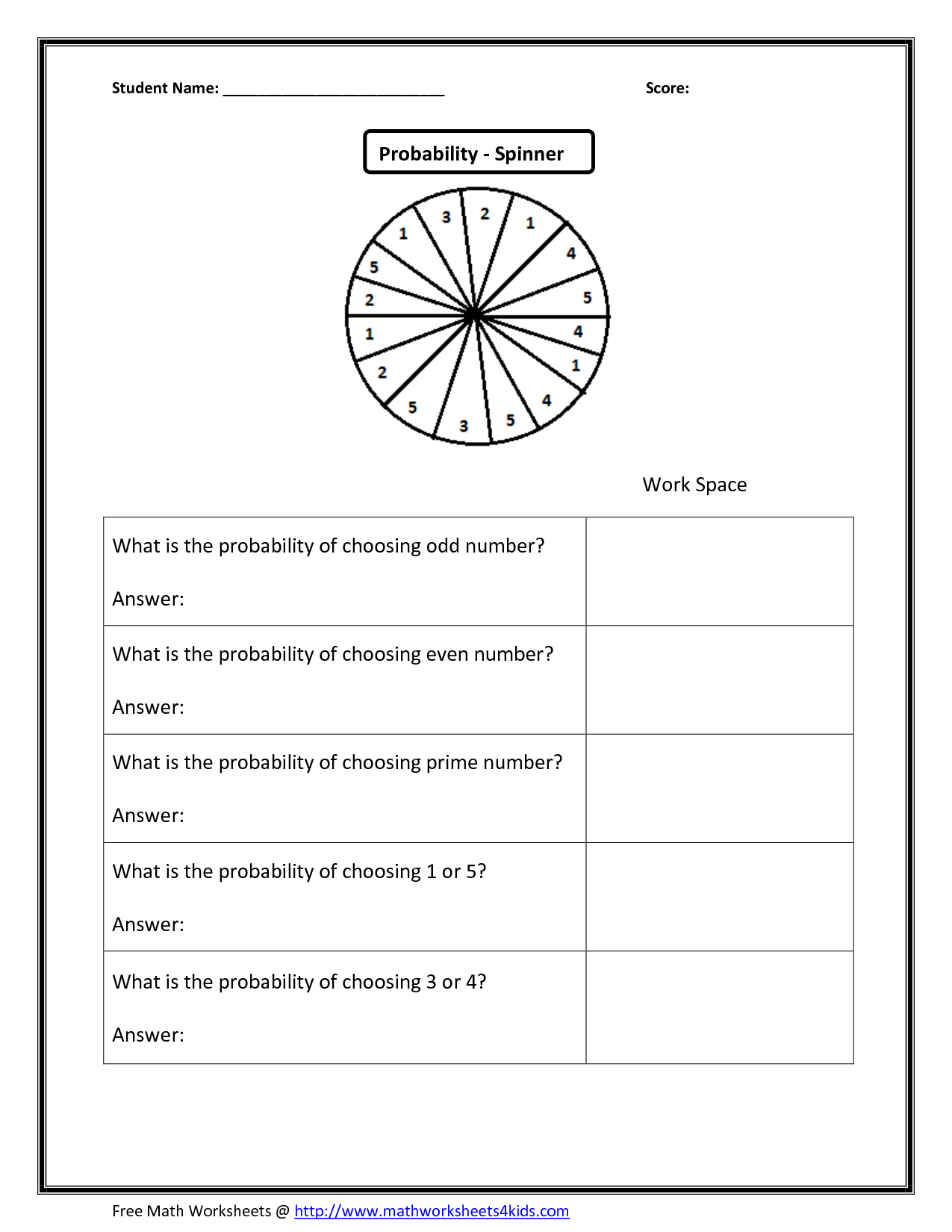 Collection Of Free Math Worksheets Probability Statistics