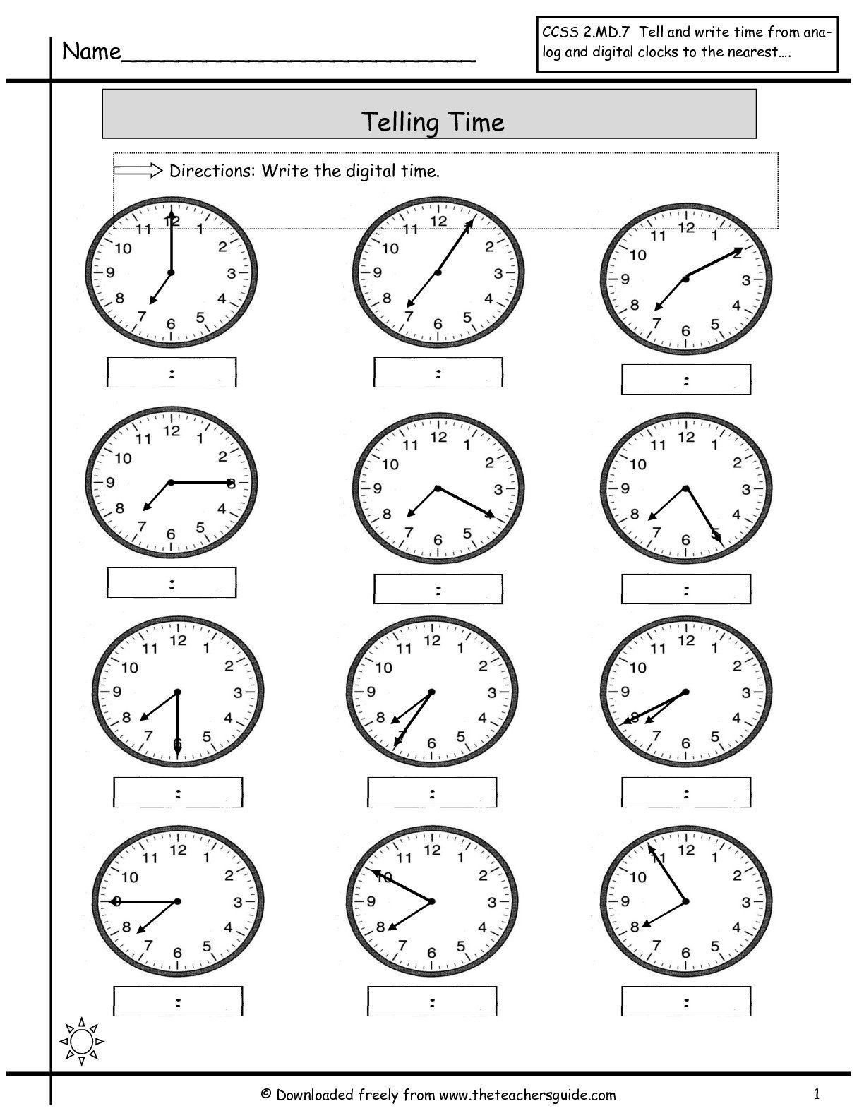 Collection Of Free Printable Math Worksheets On Telling Time