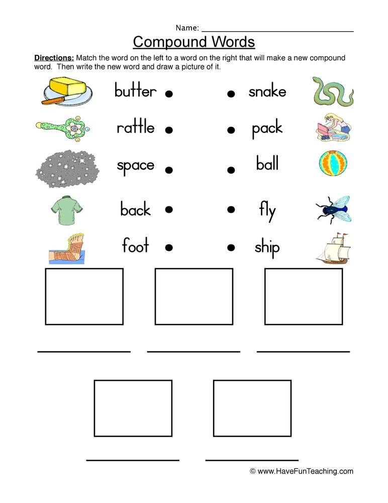 Collection Of Free Worksheet Compound Words 3rd Grade