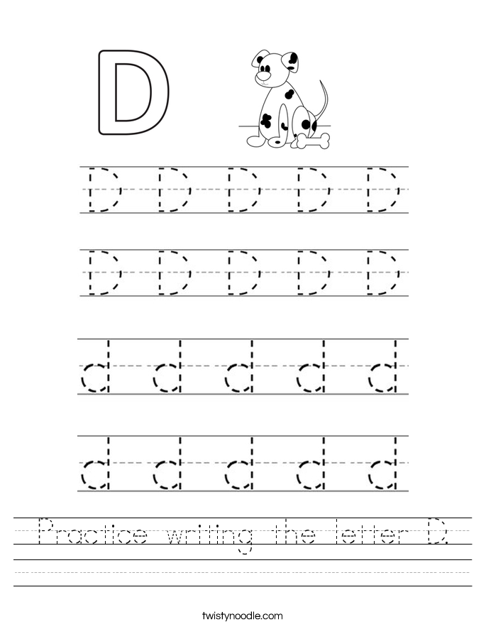 Collection Of Handwriting Worksheets Letter D