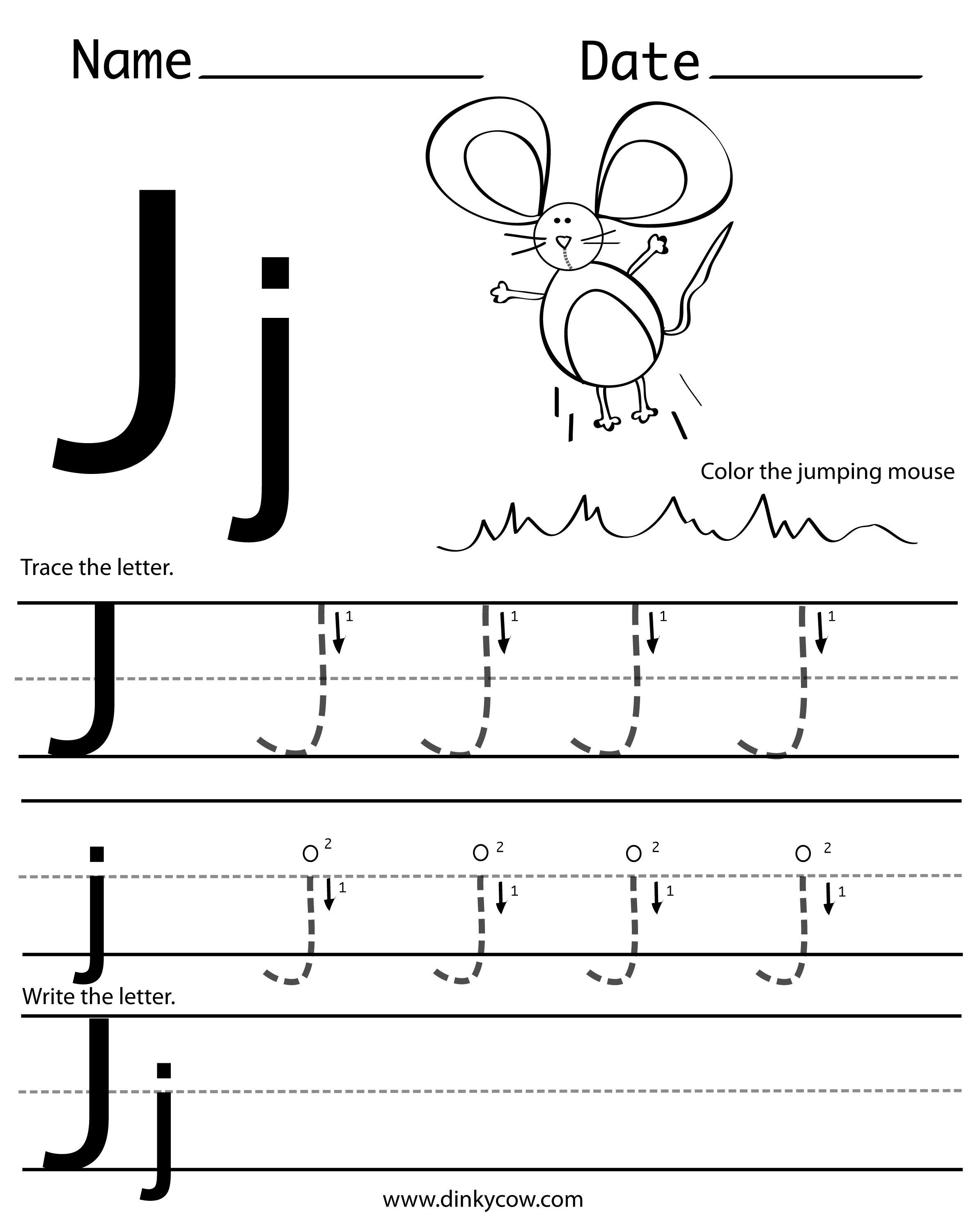 Collection Of J Worksheets For Kindergarten