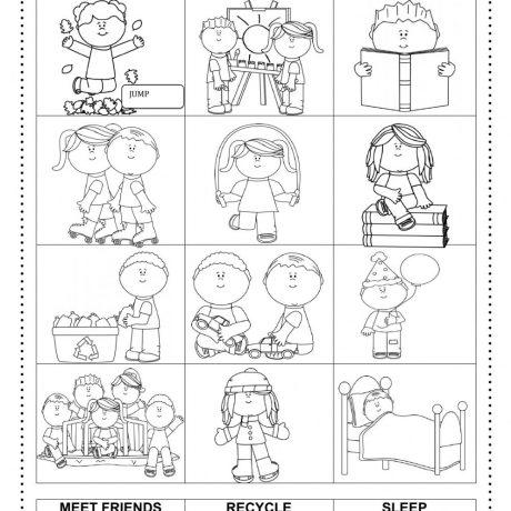 Collection Of Kindergarten Action Verb Worksheets