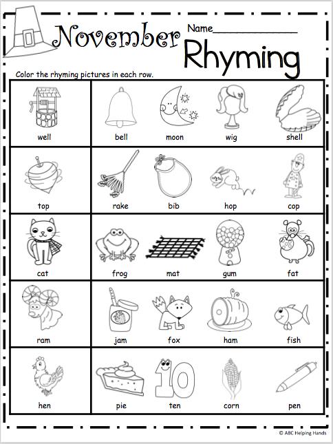 Collection Of Kindergarten Worksheets Rhyming