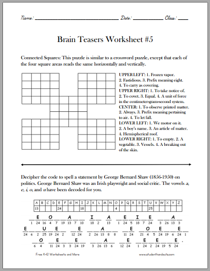 Collection Of Math Brain Teaser Worksheets High School