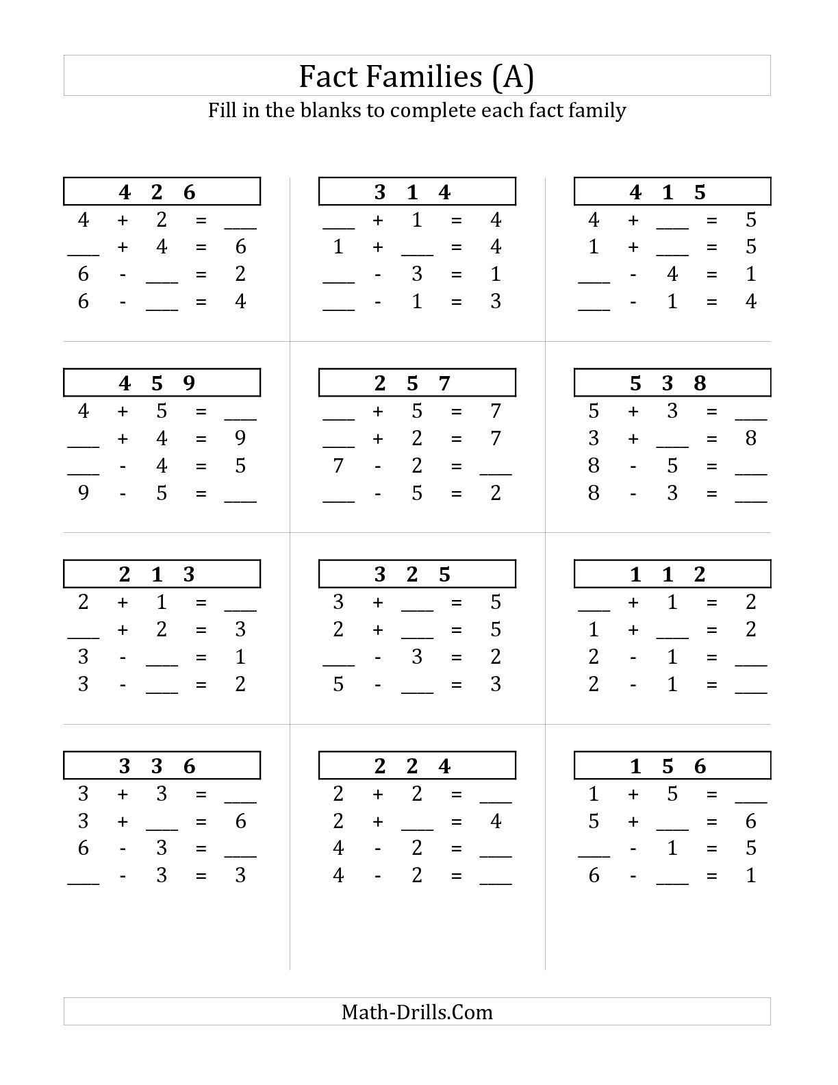 Collection Of Math Facts Up To 10 Worksheets