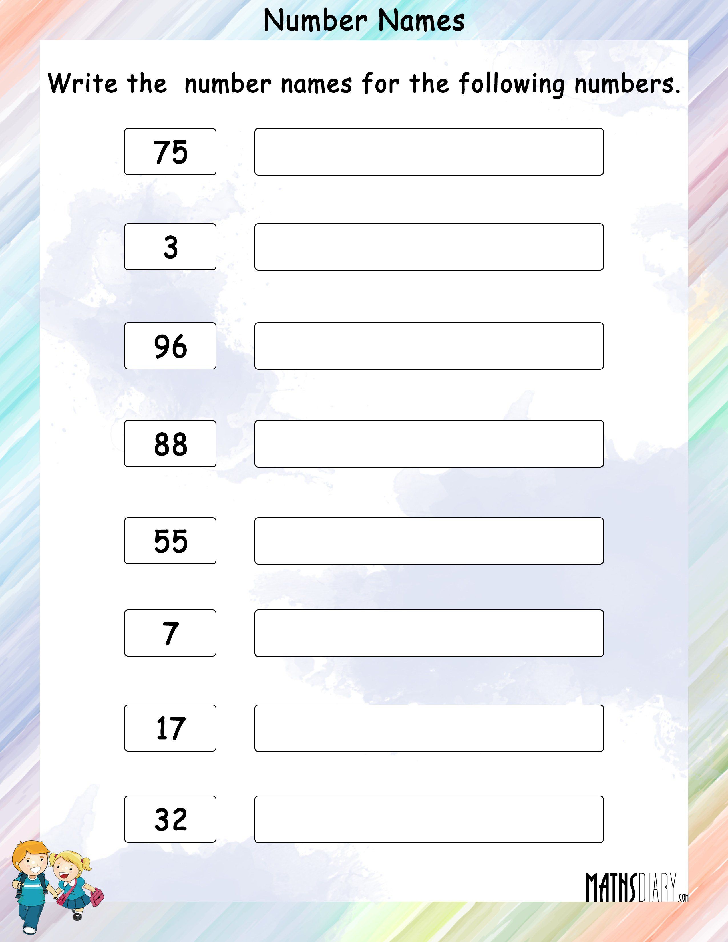 Collection Of Math Worksheets For Grade 1 Number Names