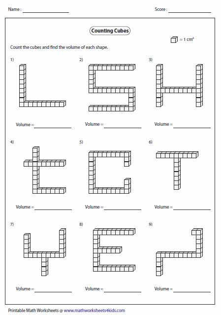 Collection Of Math Worksheets On Volume