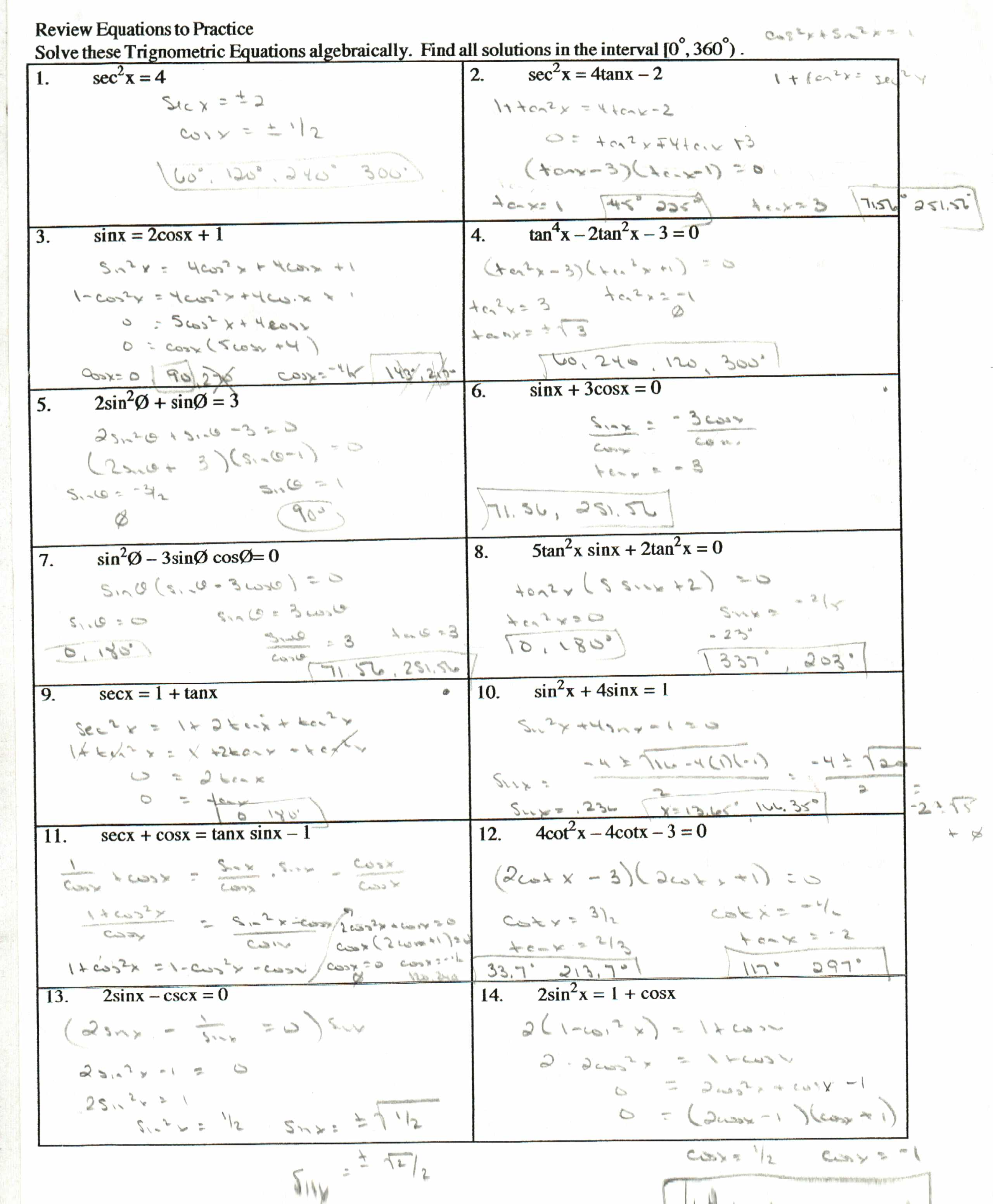 Collection Of Math Worksheets Trig Identities