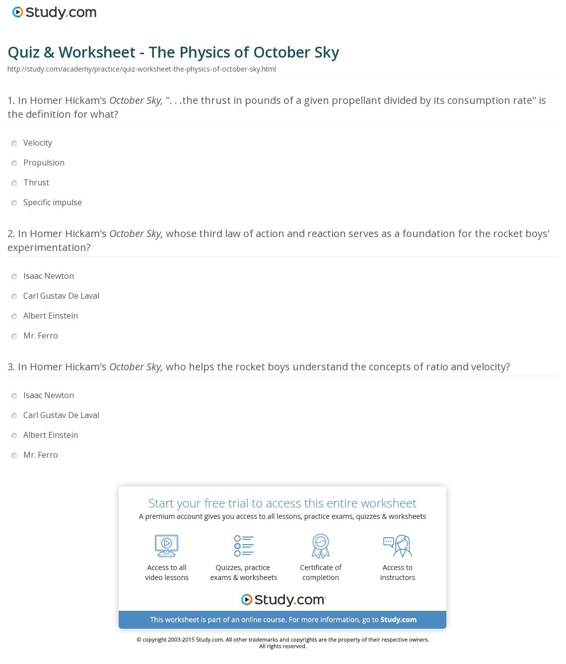 Collection Of October Sky Worksheet Answer Key