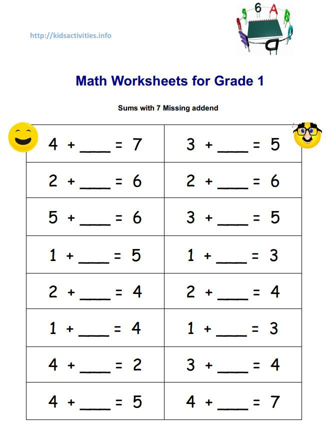 Collection Of Pdf Math Worksheets For Grade 1