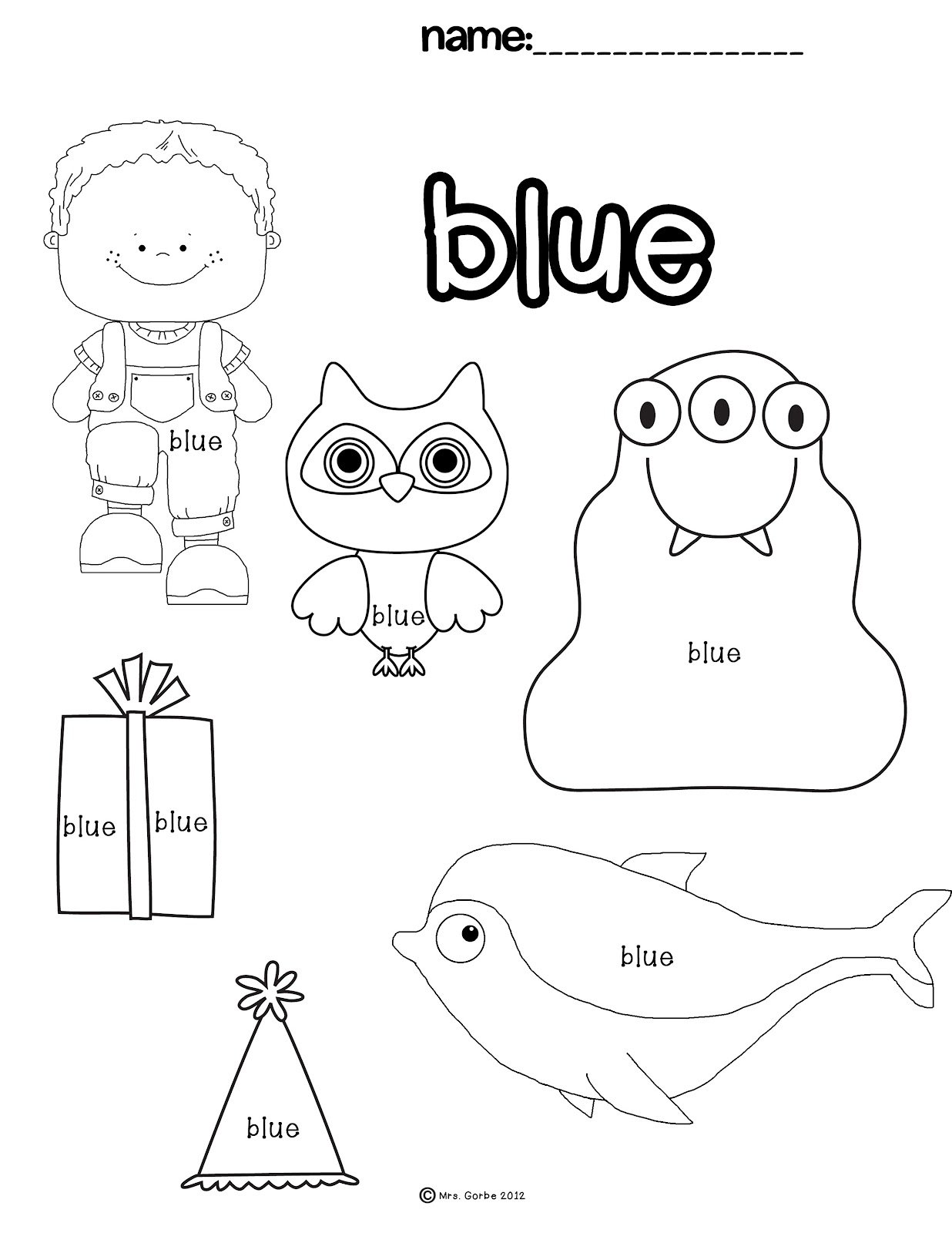 Collection Of Preschool Worksheets For The Color Blue