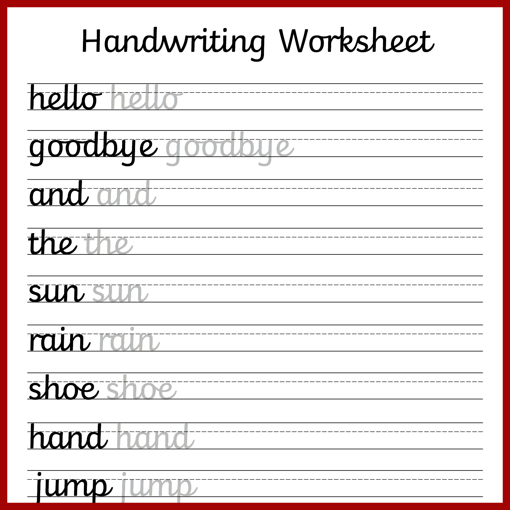 Collection Of Printable Joined Handwriting Worksheets
