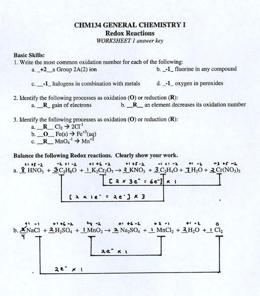 Collection Of Redox Reactions Worksheet Key
