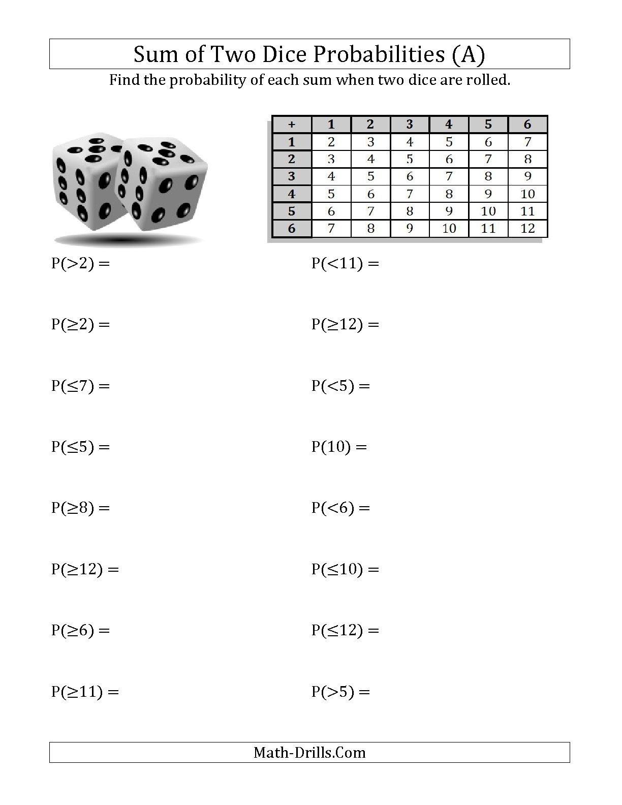 Collection Of Second Grade Math Probability Worksheets