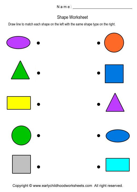 Collection Of Shape Matching Worksheets For Preschool