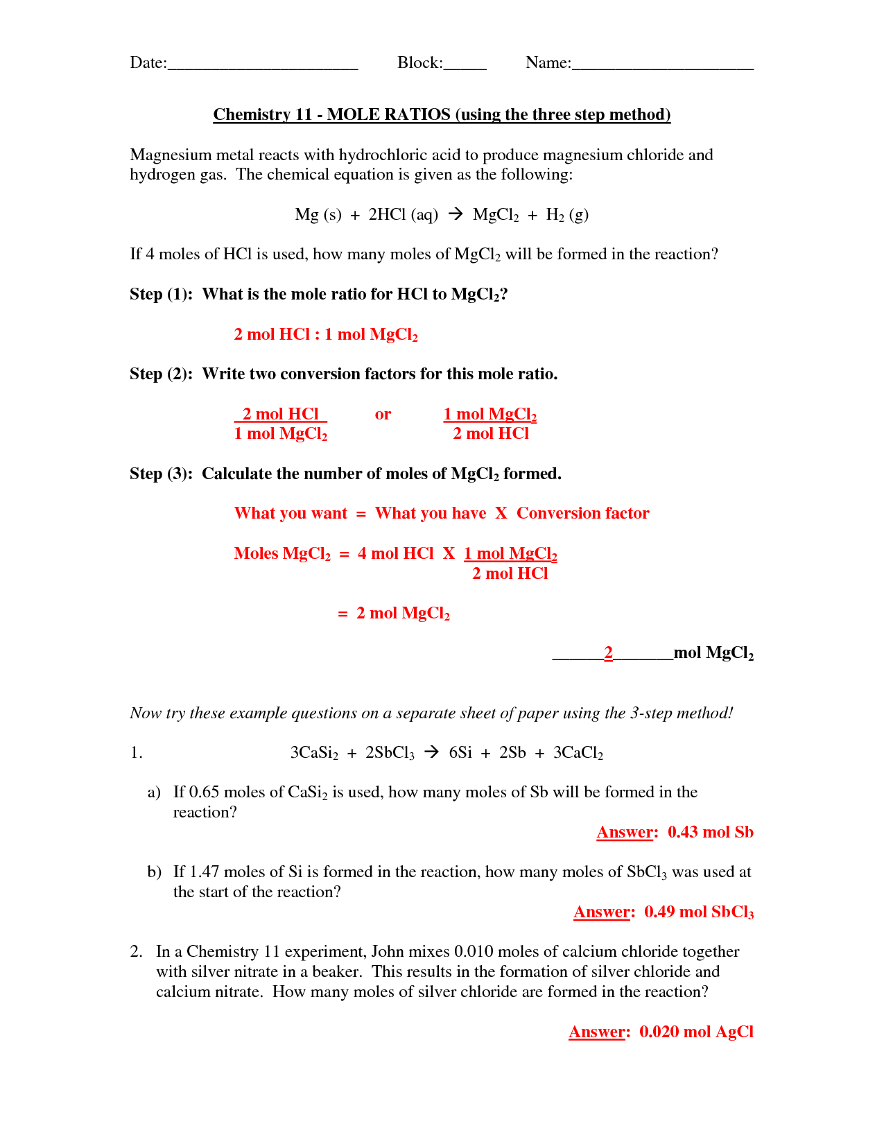 Collection Of Simple Mole Problems Worksheet