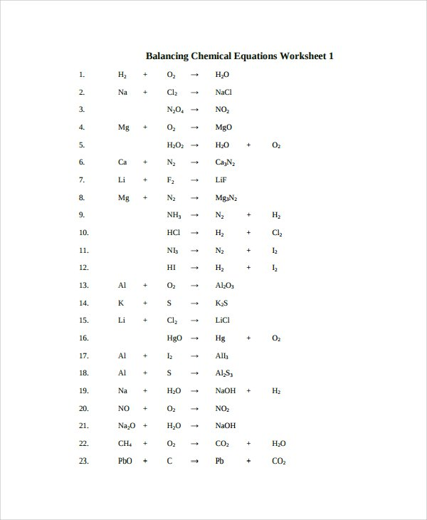 Collection Of Worksheet Balancing Chemical Equations