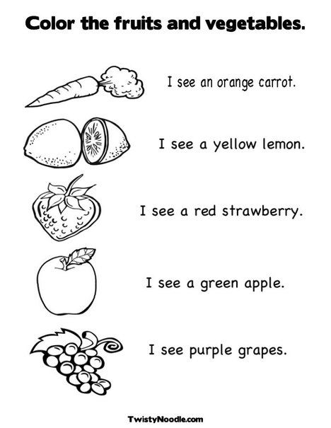 Color The Fruits And Vegetables  Coloring Page And Worksheet From