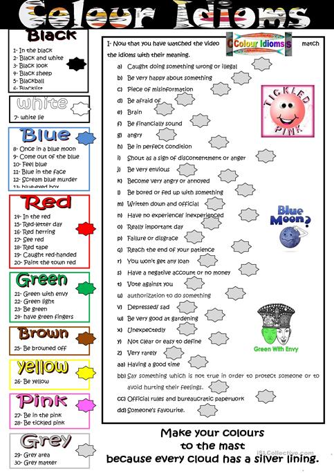 Colour Idioms Worksheet