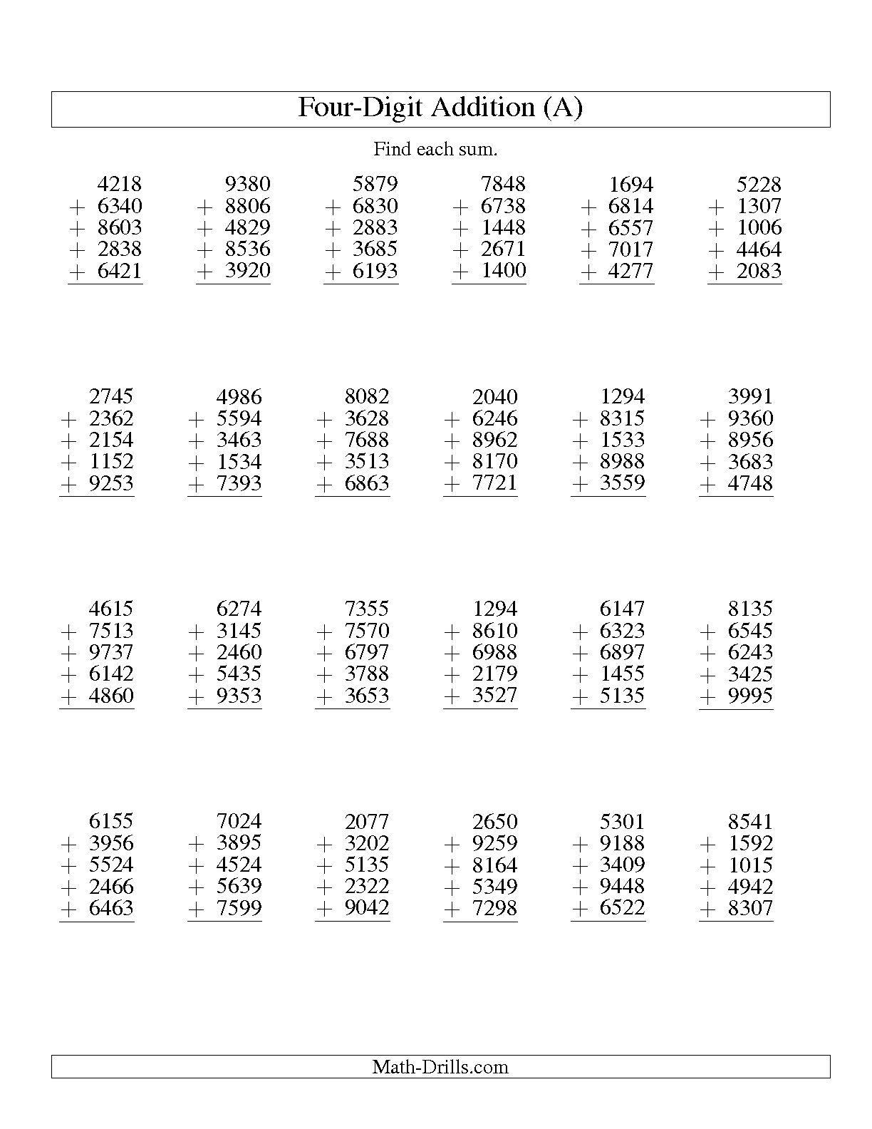Column Addition Worksheets For Year The Best Worksheets Image