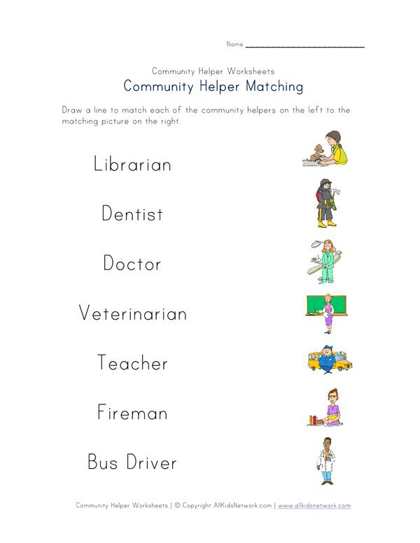 Community Helpers Matching Worksheet
