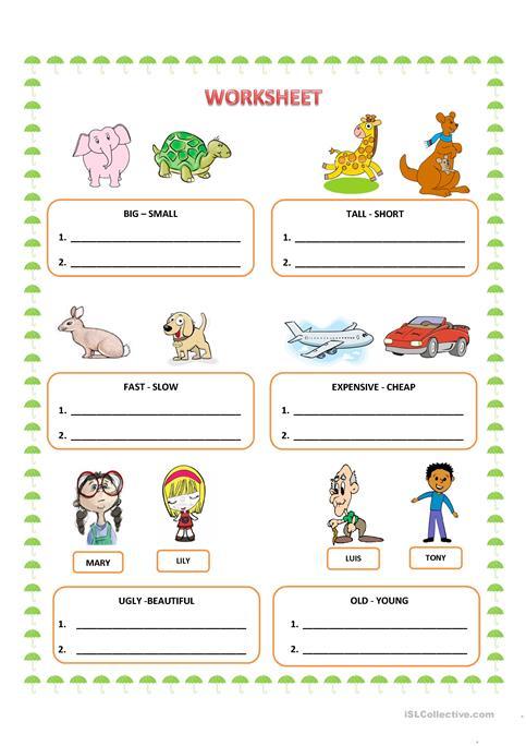 Comparative Adjectives Worksheets For Kids