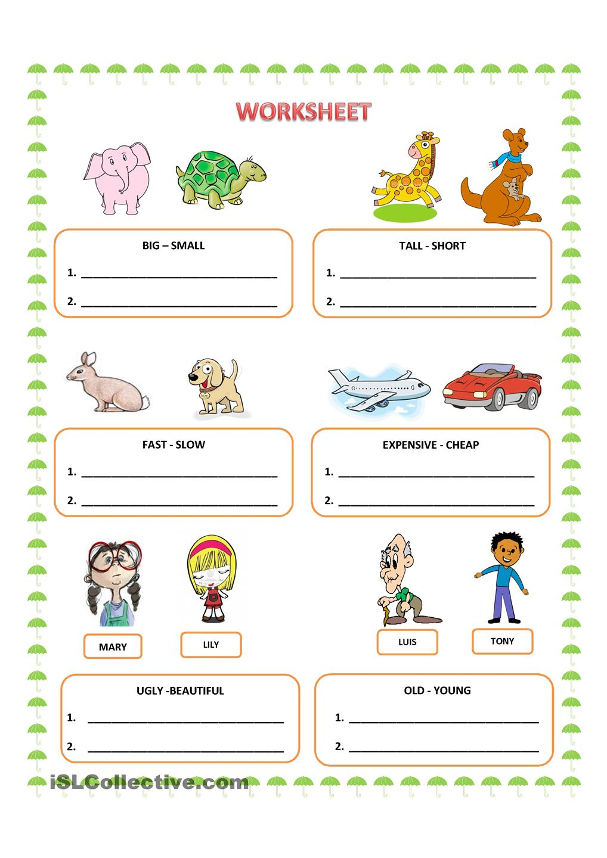 Comparative Adjectives Worksheets For Kindergarten 475306