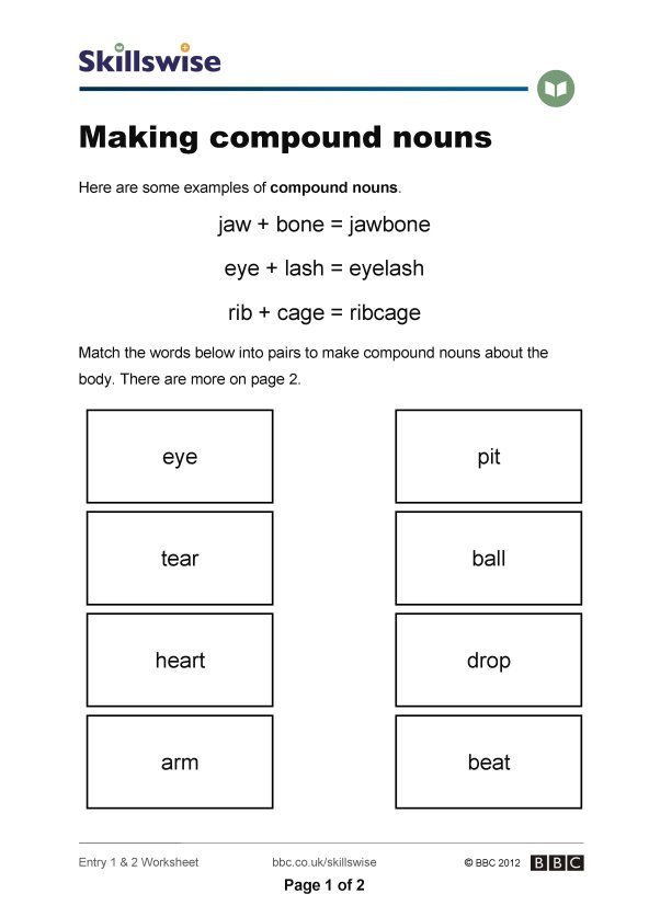 Compound Noun Worksheets The Best Worksheets Image Collection