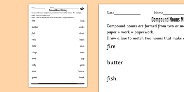Compound Nouns Matching Worksheets