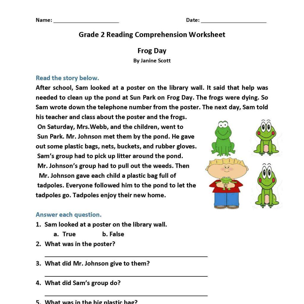 Comprehension Worksheets For Grade 2 Free
