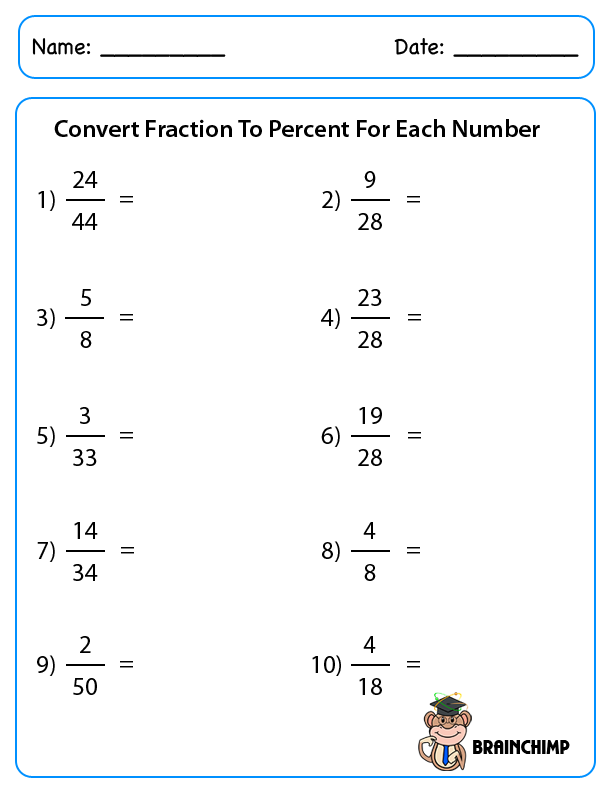 Convert Fractions To Percentages Worksheets The Best Worksheets