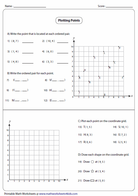 Coordinate Graphing Worksheets Ordered Pairs And Coordinate Plane