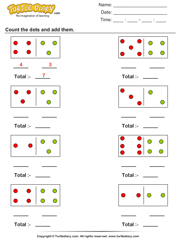 Counting And Adding Dot Figures Worksheet