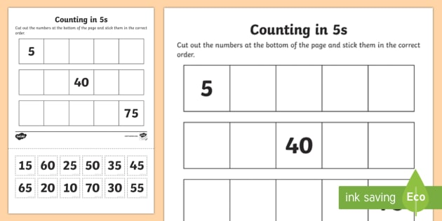 Counting In 5s Cut And Stick Worksheet   Activity Sheet