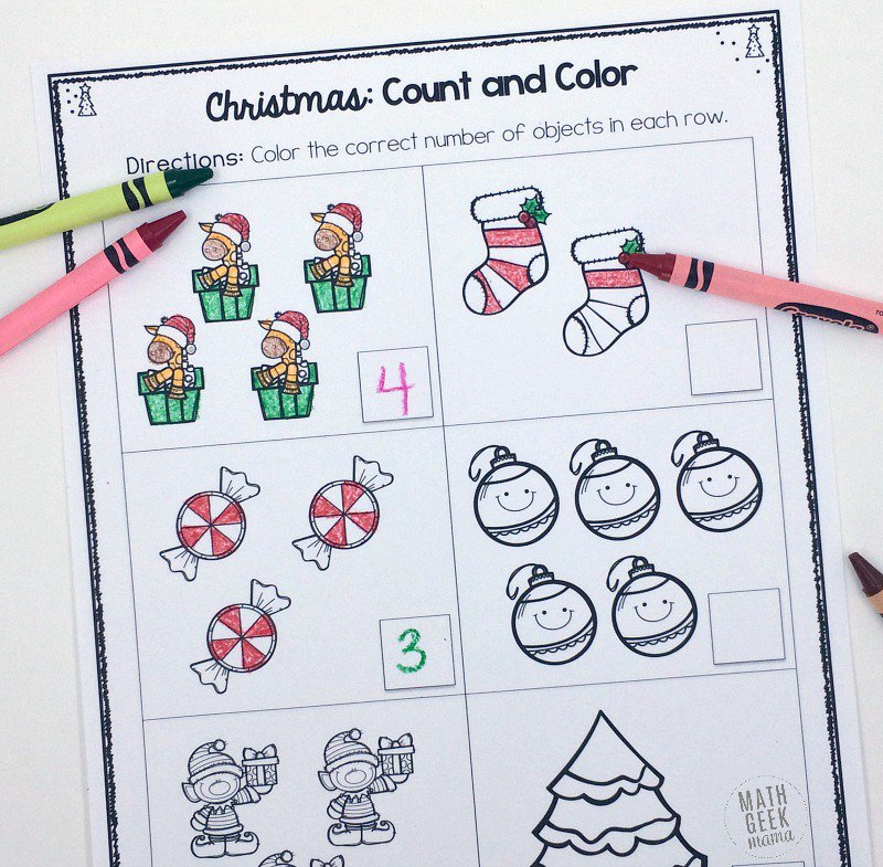 Counting Worksheets Christmas Kindergarten 273922