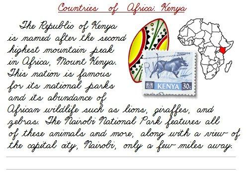 Countries Of Africa Cursive Practice – Printable Cursive & Manuscript