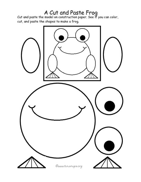 Cut And Paste Worksheets A Cut And Paste Frog Pre K 1st Grade