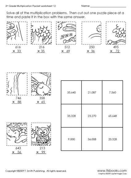Cut And Paste Worksheets For 3rd Grade