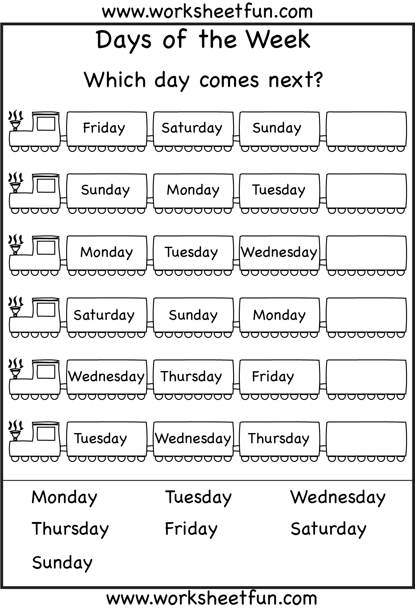 Days Of The Week Months Of The Year Worksheets