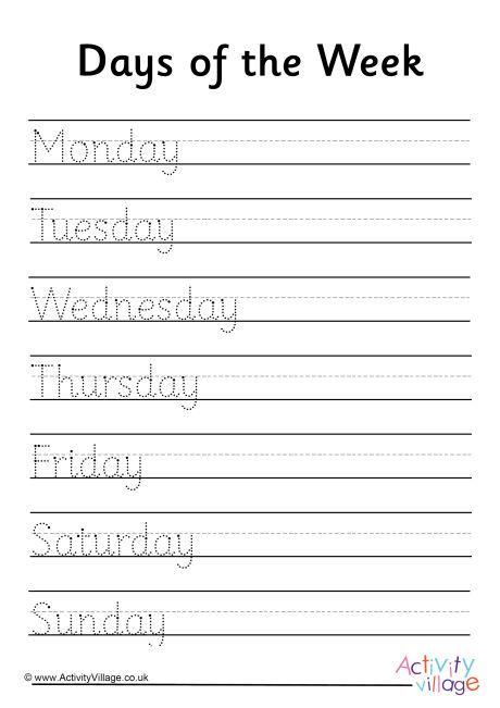 Days Of The Week Worksheets Of The Week Handwriting Worksheet