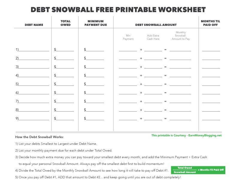 Debt Snowball Worksheet Debt Snowball Free Printable Worksheet