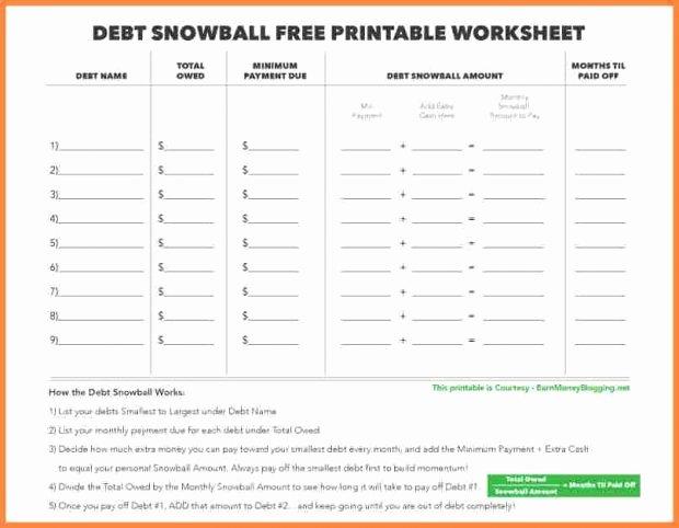 Debt Snowball Worksheet Free Debt Snowball Spreadsheet New Debt
