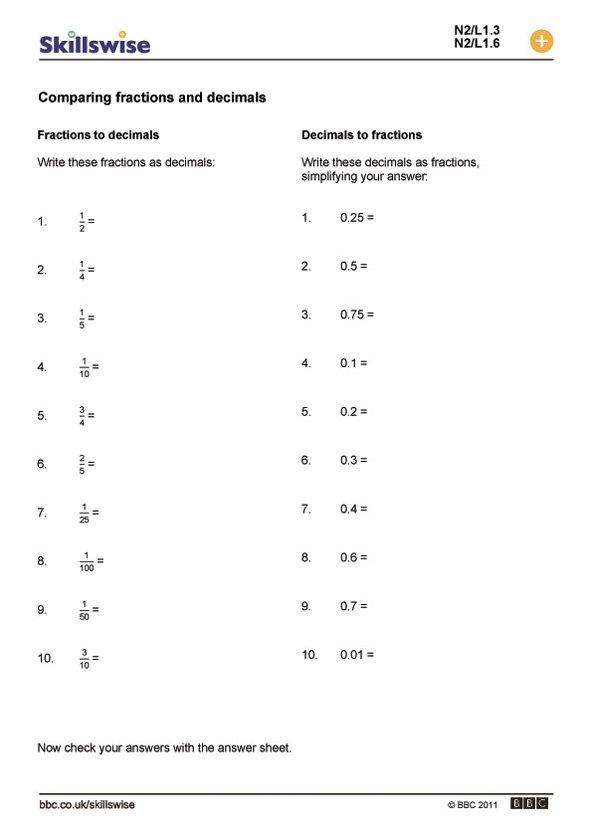 Decimal To Fraction Worksheet