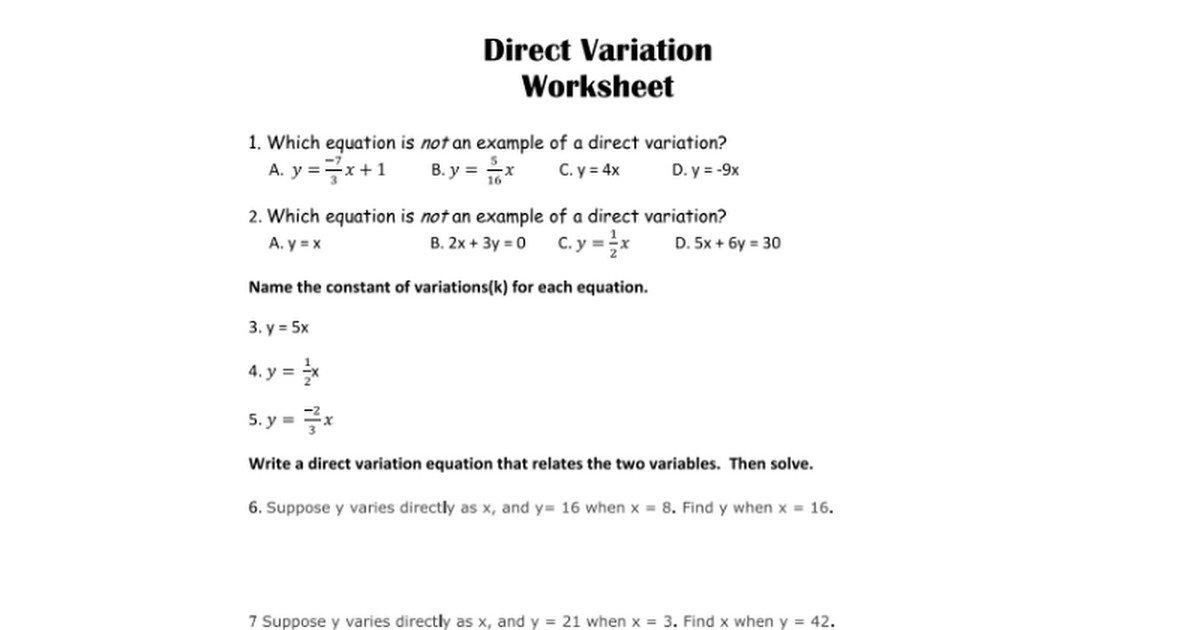 Direct Variation Worksheet Answers The Best Worksheets Image