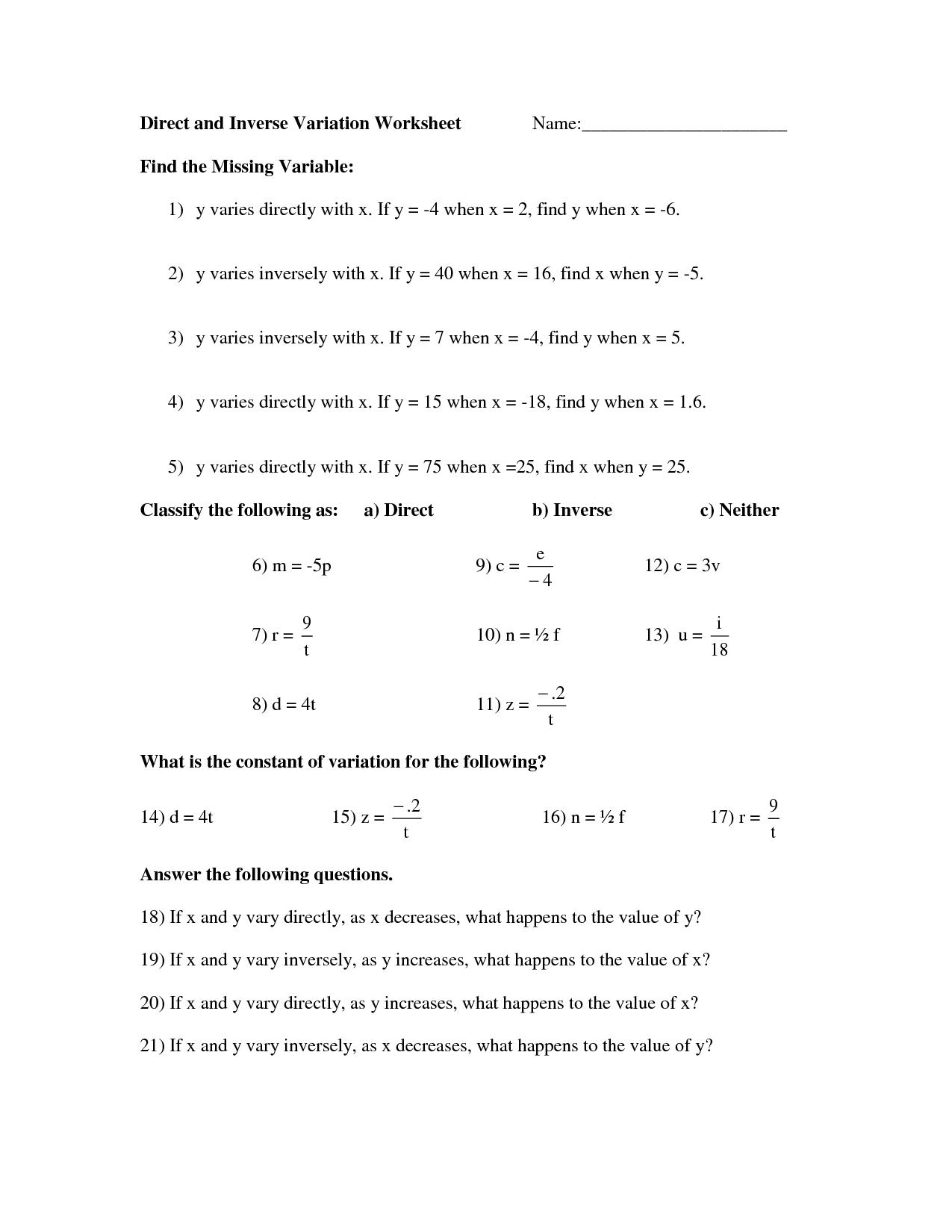 Direct Variation Worksheet Com And Inverse