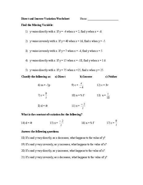 Direct Variation Worksheet Direct Variation Worksheet 7th Grade